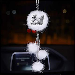 Gabrine Car Pendant Hanging Ornament Fox Swan Crystal with Fur Tail Balls Car Interior Accessories Mirror Decoration Home Decor