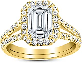 2.2 Ctw 14K White Gold Split Shank Emerald Cut GIA Certified Diamond Engagement Ring (1.7 Ct H Color VS1 Clarity Center Stone)