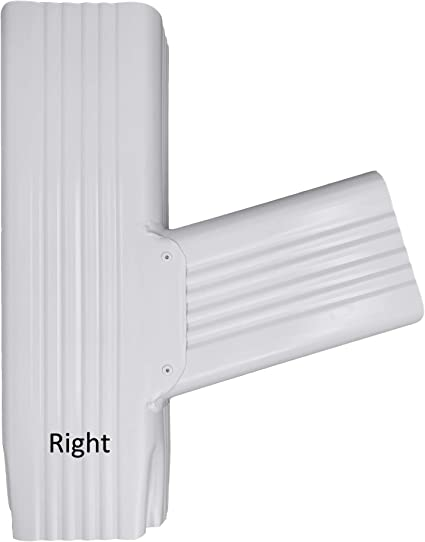 Aquabarrel T Downspout Gutter Funnel Brings 2 Downspouts into 1 2x3 Right, White