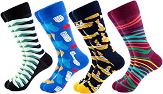 Mens Fun Dress Socks, Colorful Funky Novelty Cool Casual Crew Socks Pack