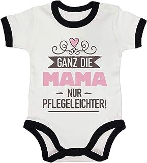 ShirtStreet Geschenk zur Geburt Ringer Strampler Baumwoll Baby Body kurzarm Jungen Mädchen Ganz die Mama nur pflegeleichter