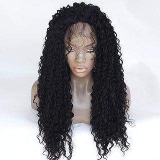 باروكة حريمي بشعر مستعار فاخر، دانتيل أمامي أفريقي أسود، خط شعر طبيعي صغير للسيدات، شعر مستعار مجعد طويل بطول 55.88 سم