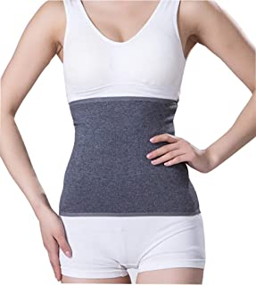 Unisex Adults Thin Soft Cashmere Waistband Kidney Binder Breathable Stretchy Autumn Spring Abdominal Warming Band Wrap Waist Back Brace Support Grey