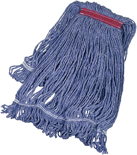 AmazonBasics Loop-End Synthetic Commercial String Mop Head, 1.25 Inch Headband, Large, Blue, 6-Pack