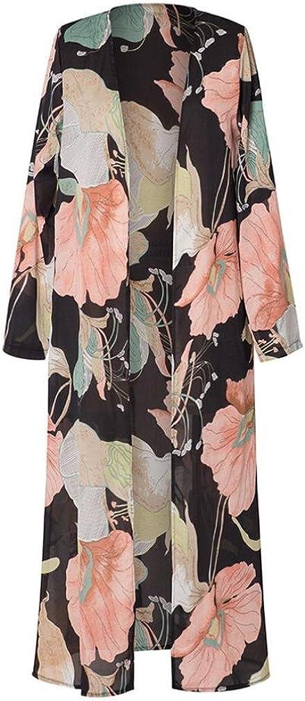Women Long Sleeve Kimono Floral Printed Shawl Beachwear Chiffon Cardigan Tops Cover Up Blouse