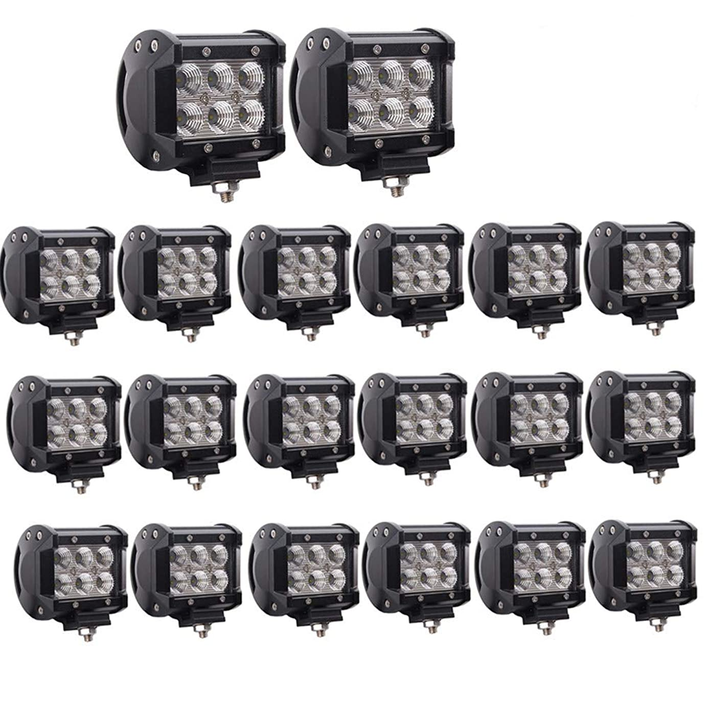 Lumitek 20PCS 4inch 18W CREE LED Light Bar Led Flood Light Pods IP67 Waterproof 6000K Led Fog Lights Driving Lights Off-road Lights for Pickup Jeep Trucks SUV UTV Tanks Van Camper ATV 4WD ……… dcnhvc2968