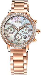 Fashion Rose Gold Watches for Women, Crystal Ladies Watch, Waterproof Multifunction Gift Big Face Red Watch for Women