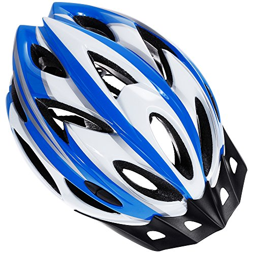 Zacro Lightweight Bike Helmet, Adult Cycle Helmet Adjustable Size for Adult with Detachable Liner and a Headband, Blue Plus White Helmet