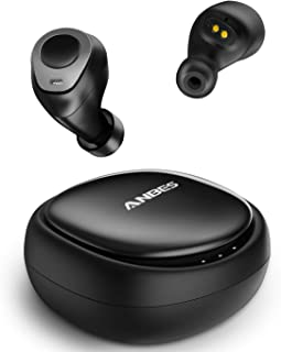 Anbes Wireless Earbuds, Bluetooth 5.0 Headphones True Wireless in-Ear Earbuds 18H Playtime Noise Cancelling 3D Stereo Deep Bass with Built-in Mic Volume Control Portable Charging Case