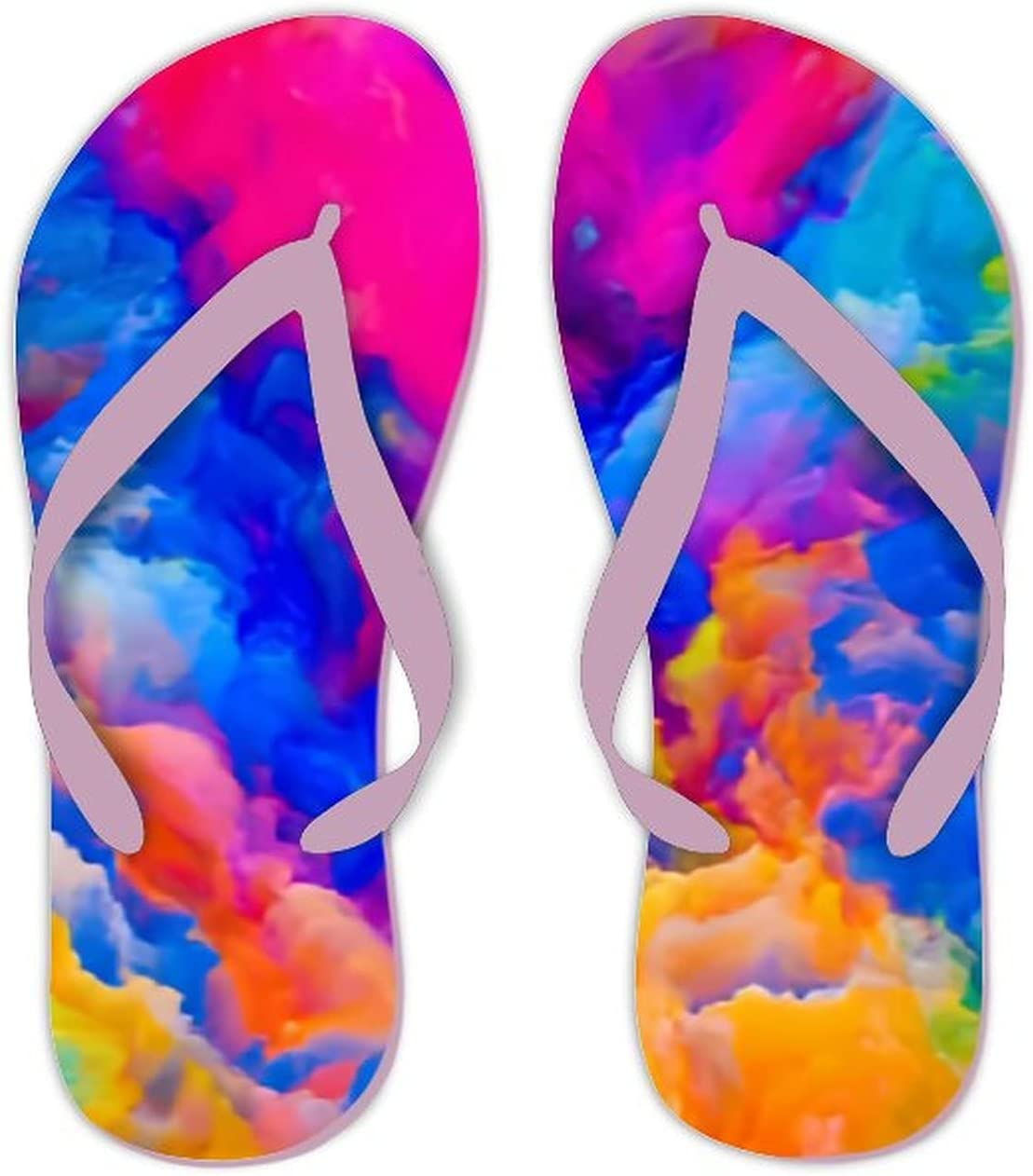 UTF4C Summer Flip Flops for Men Women Colors Imagination Series Backdrop Colorful Soft Lightweight Non Slip Sandals for Shower Beach Pool Bathroom Flat 12.5