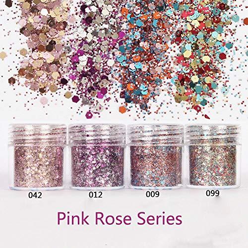 Zeemeermin nagel holografische roze roos glanzende nagel glitter poeder 10ml zeshoekige vorm poeder nagel stof tips nail art decoratie, 042 3ml