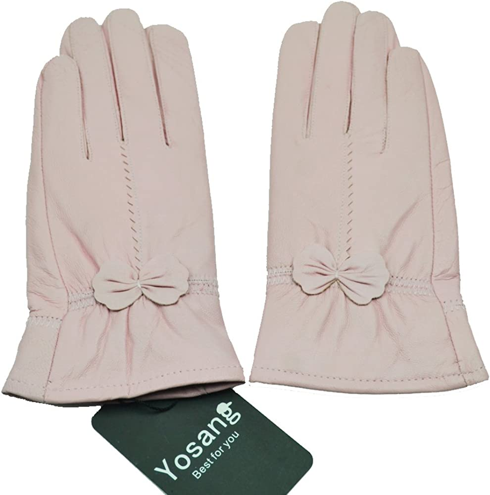 Yosang Women Luxury Winter Genuine Leather Lined Gloves w/Bowknot