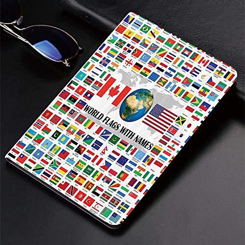 Funda para iPad (24.638, modelo 2018/2017, 6.a / 5.a generación) Funda inteligente ultradelgada y ligera, banderas, gran colección de banderas del mundo con nombres de diferentes países nacionales, fu