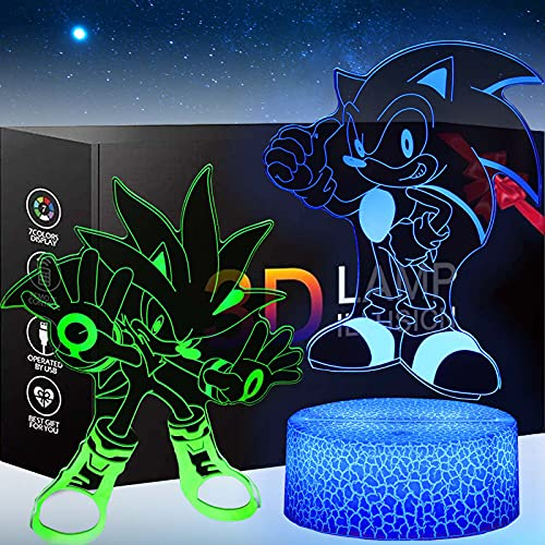 3D Sonic The Hedgehog Toys Night Light - Two Patterns and 16 Color Change Decor Lamp with Remote Control, for Kids, Boys, Girls