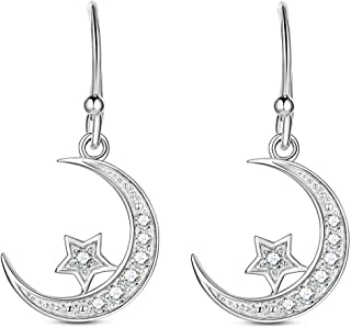 Sterling Silver Round Cubic Zirconia Crescent Moon & Star Dangle Earrings Star Jewelry for Women