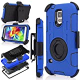 J.west S5 Case, Galaxy S5 Holster case, Hybrid Dual Layer Combo Armor Defender Protective Case with Kickstand + Belt Clip Holster for Samsung Galaxy S5 Blue/Black