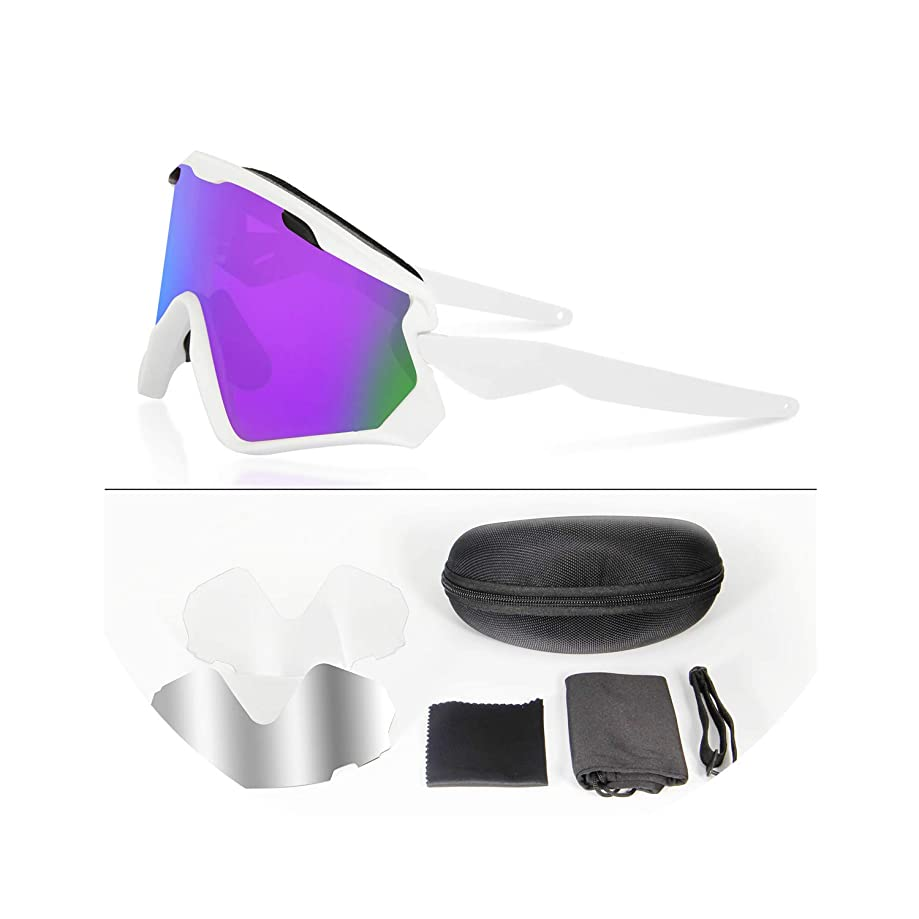 Romantico Professional 3 Lens Cycling Glasses Bike Goggles Racing Cycling Eyewear Sunglasses Mirrored