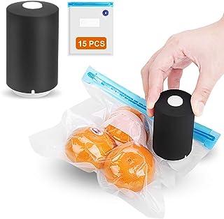AZFUNN Mini Vacuum Sealer with 15pcs vacuum Zipper Bags, Rechargeable Handheld Automatic Vacuum Food Sealer for Kitchen Home (Black)