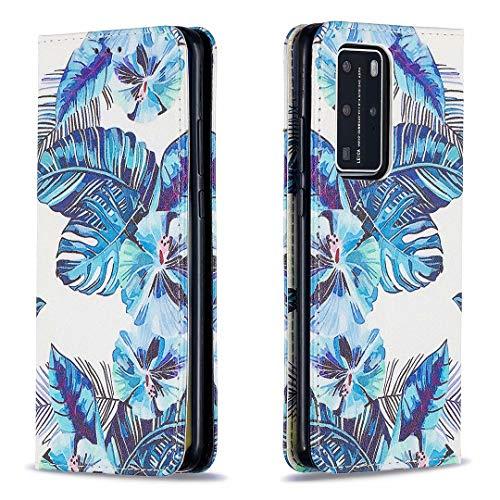 Miagon Brieftasche Hülle für Huawei P40 Pro,Kreativ Gemalt Handytasche Case PU Leder Geldbörse mit Kartenfach Wallet Cover Klapphülle,Blatt