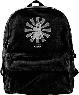 Mochila antirrobo Impermeable,Canvas Backpack Moomin Retro Japanese Rucksack Gym Hiking Laptop Shoulder Bag Daypack for Men Women