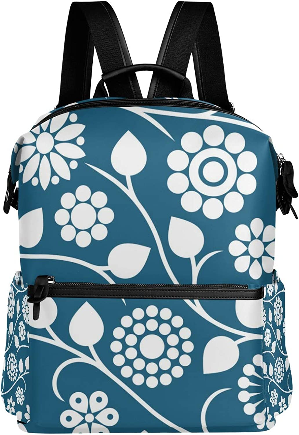 MONTOJ Innovative Artsy Flowers Leather Travel Bag Campus Backpack