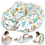 Bamibi® Almohada Embarazada y Cojín Interno Multifuncional, Cojín Lactancia Bebé. Fundas de Algodón, Relleno de Poliéster. Protector Cuna, Lavable (Animales)