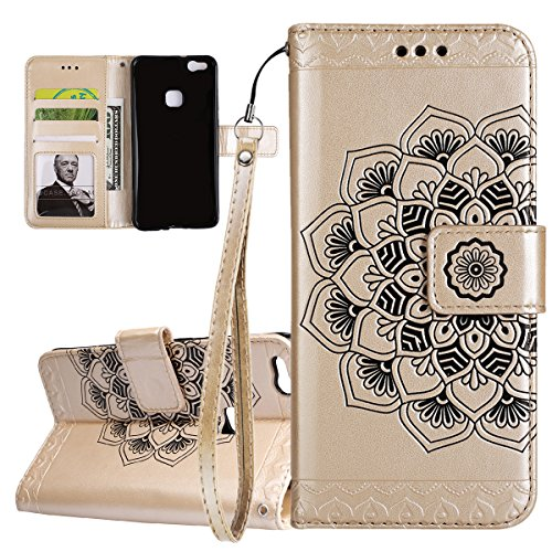 ISAKEN Compatibile con Huawei P10 Lite Custodia Cover, Libro PU Pelle Wallet Cover Flip Portafoglio Protezione Custodia con Supporto di Stand/Carte Slot/Strap[Shock-Absorption], Fiori: Oro