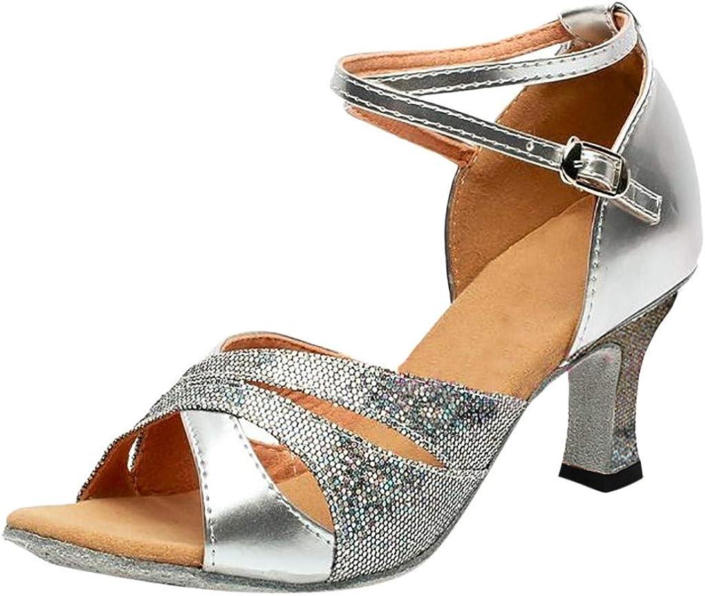 Pzhhzpingg Dance Shoes for Women Ballroom Close Toe Sequins Shoes Prom Evening Party Rumba Waltz Latin Salsa Dancing Shoes