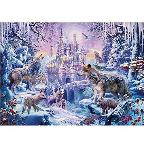 Mini 1000 Pieces Jigsaw Puzzles for Adults - Twlight Snow Wolf Jigsaw Puzzles 16.54 x 11.69 inches