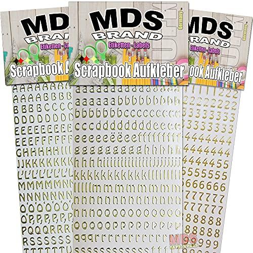 MDS Brand Buchstaben & Zahlen (1cm) zum beschriften von Kerzen 3er/pk für Hochzeitskerze, Taufkerzen, Kommunionkerzen oder dankeskarten, einfach zum basteln und gestalten 23(Gold)
