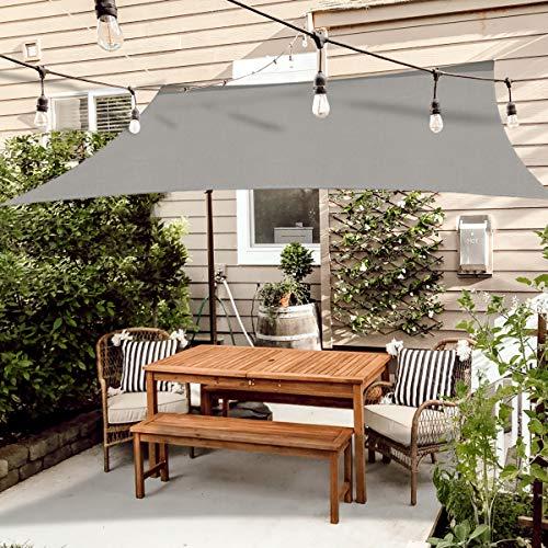 OKAWADACH Sonnensegel 3 x 4m, Grau Polyester Sonnensegel Sonnenschutz Garten Balkon und Terrasse wetterbeständig mit UV Schutz Windschutz für Garten Terrasse Camping