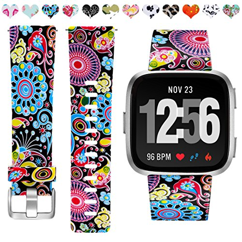 Maledan Bands Compatible with Fitbit Versa 2/Versa/Versa Lite SE Smartwatch for Women Men, Colorful Jellyfish, Small