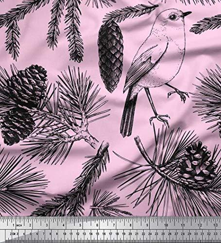 Soimoi Rose Mousse Georgette en Tissu Pomme de pin, épinette et Oiseau Feuilles Tissus imprimes par Metre 42 Pouce Large