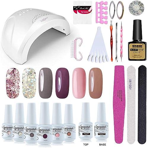 Vishine Gel Nail Polish Starter Kit - 48W LED Lamp 6 Color & Base Top Coat Set, Manicure Tools Popular Nail Art Desig...