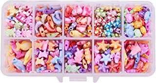 PH PandaHall 380pcs 10 Shapes Colorful Animal Acrylic Beads Starfish Butterflyfish Dolphin Fish Tortoise Elephant Rabbit Bear Frog Butterfly Beads for DIY Jewelry and Bracelets