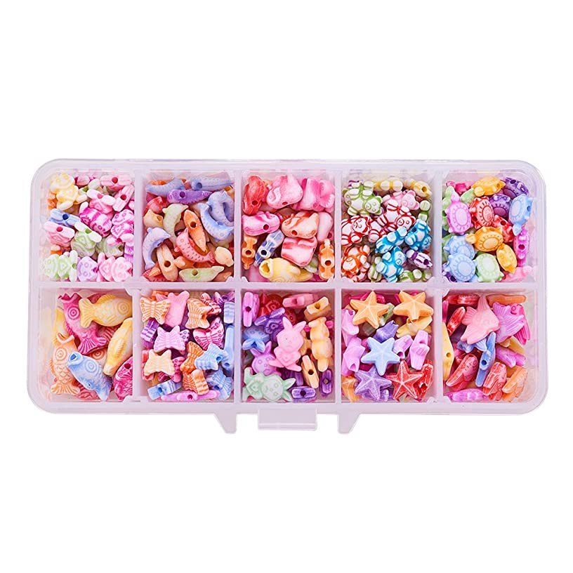 PH PandaHall About 380pcs 10 Shapes Colorful Animal Acrylic Beads Starfish Butterflyfish Dolphin Fish Tortoise Elephant Rabbit Bear Frog Butterfly Beads for DIY Jewelry and Bracelets