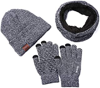 Fauhsto Set de bufanda, gorro y guantes,Warm Knitted Men and Women Winter Bufanda y Gorro Set Thermal Hat & Stretch Touch ...