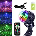 GCBTECH Mini Led Party light Sound Activated Crystal Magic Rotating Ball Disco DJ Stage Lights Effect for Festival Xmas Party Wedding Show Club Pub Bar and outdoor 5W RGB (with rechargeable battery)