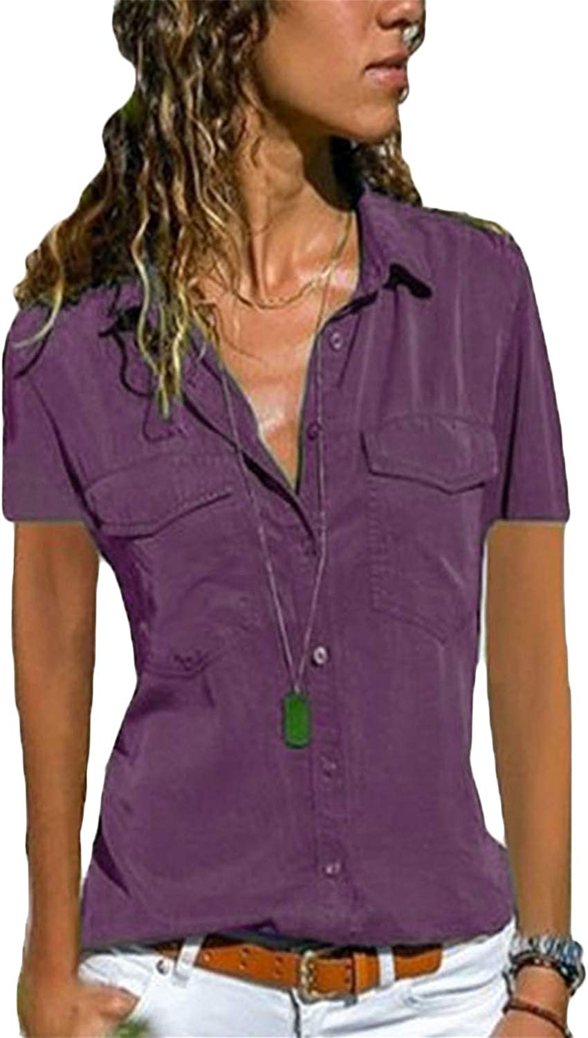 Andongnywell Women's OL Short Sleeve Casual Shirt Tops Button Down Blouse Slim Fit