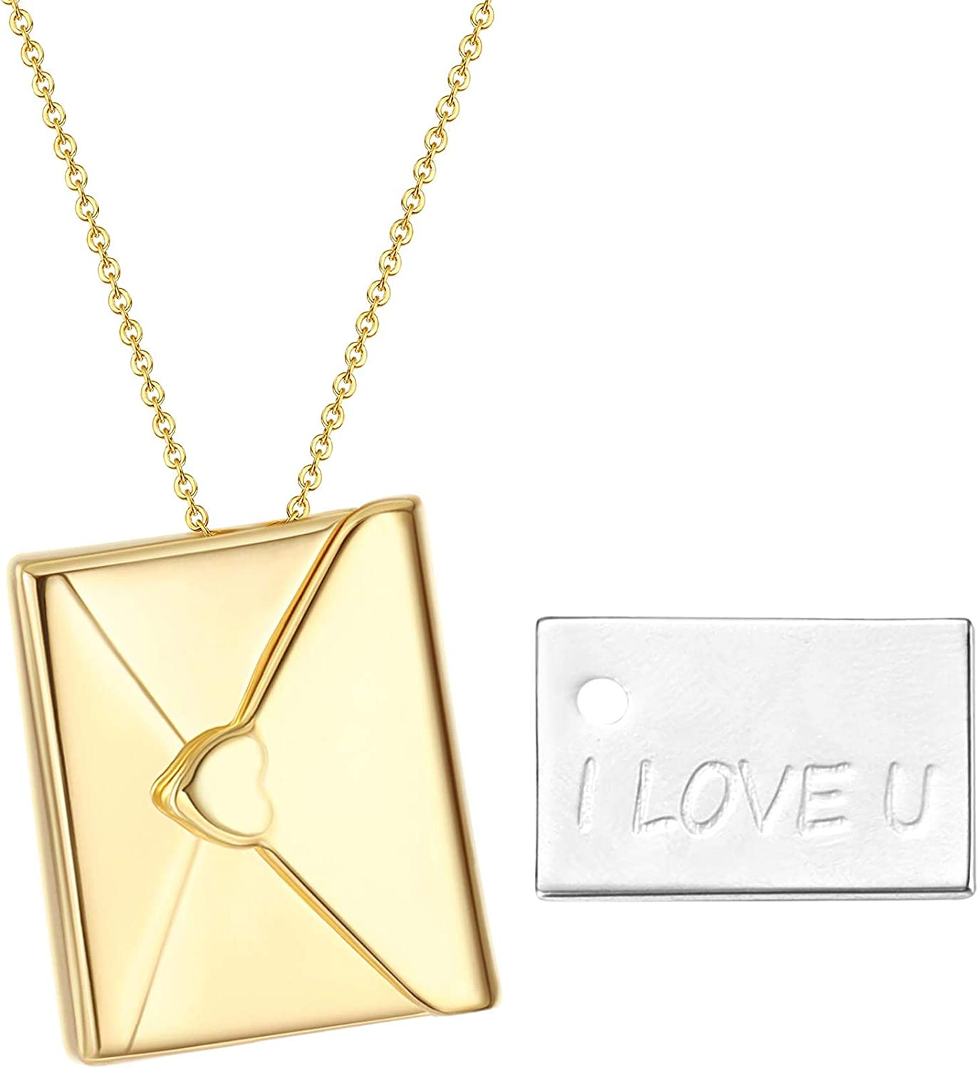 Jstyle I Love You with Envelope Locket Necklace,Gold Necklace for Women Pendant Necklace Jewelry Gift for Her on Mother's Day