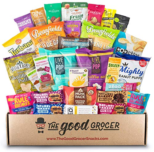 Deluxe VEGAN Snacks Care Package: Delicious Vegan Jerky, Snack Bars, Protein Cookies, Vegan Puffs, Nuts, Healthy Gift Basket Alternative, Snack Variety Pack (Deluxe Vegan, 30)