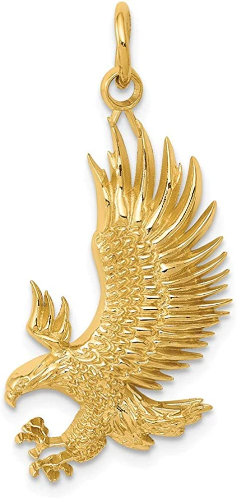 Solid 14k Yellow Gold American Bald 35mm Max 87% OFF Eagle Pendant x Charm Max 46% OFF -