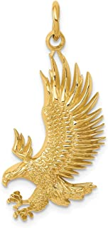 14k Yellow Gold American Bald Eagle Pendant Charm Necklace Bird Fine Jewelry Gifts For Women For Her