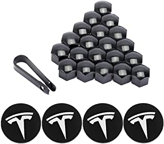 ROCCS Tesla Model 3, S & X Set Aero Wheel Cap Kit, Center Hub Nut Cap Lug Nut Cover, White