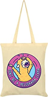 Don't Be A Melodrama Llama Tote Bag Cream 38x42cm