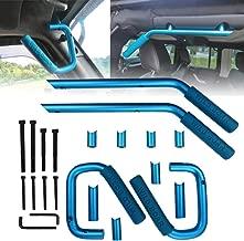 Vijay Hunter Blue Front&Rear Grab Bar Brushed Hard Steel Wild Boar Grab Handle Kit for 2007-2018 Jeep Wrangler JK JKU Sports Sahara Freedom Rubicon X & Unlimited X 2 Door 4 Door