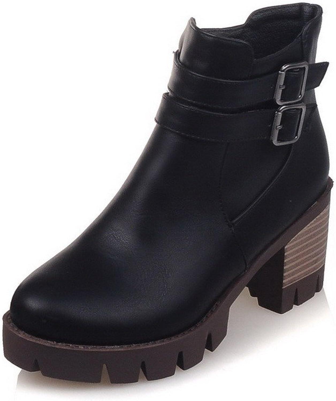 WeenFashion Women's Soft Material Zipper Round Closed Toe Kitten Heels Low-Top Boots