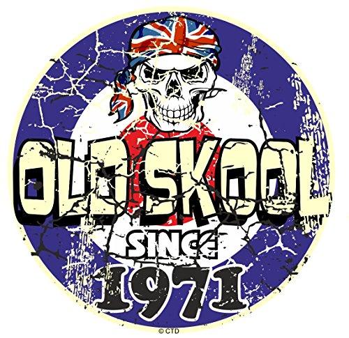 Effet vieilli vieilli vintage style old skool depuis 1971 Rétro Mod RAF Motif cible et crâne vinyle Sticker Autocollant Voiture ou scooter 80 x 80 mm