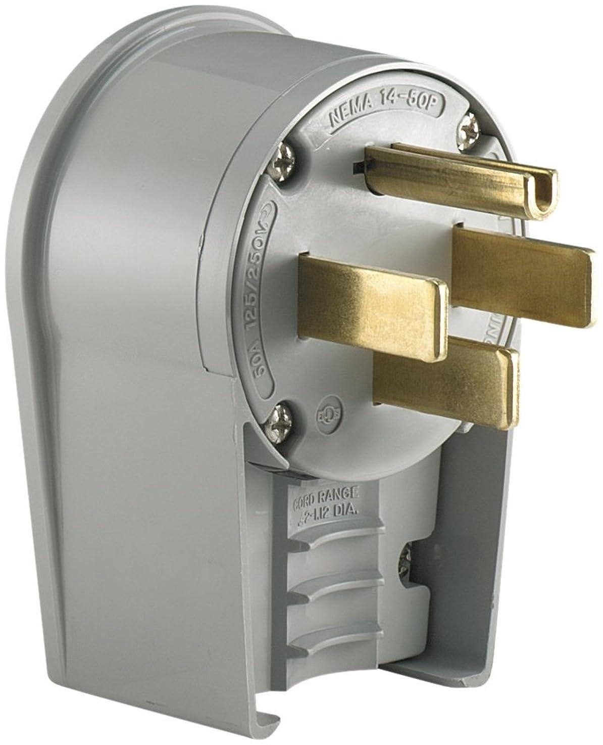 Eaton 5752AN 50 Amp 125/250V 14-50 Industrial Power Plug, Gray