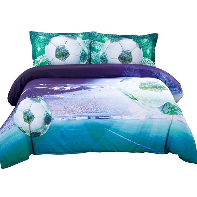 Alicemall 3D Bedding Set 3D Soccer Blue and Green Duvet Cover Set 4 Pieces Cotton and Tencel Blended Super Soft Cool Sports Bedding Set, Twin Size College Bedding for Girls and Boys (Twin, Deep Blue)